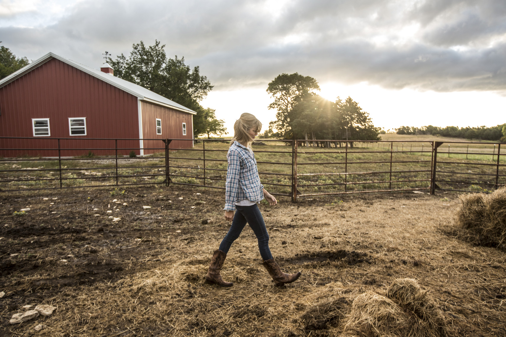 agriculture farmer girl walking field